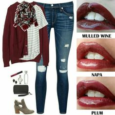 LOVE this burgundy red color, and the grey booties.