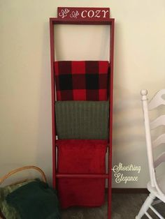 Shoestring Elegance: Cozy Blanket Ladder Upcycle for under $10 Good Old Movies, Bunk Bed Ladder, Blanket Ladder, Repurposed Items, White Chalk, Cozy Blankets, Shades Of Red, Being A Landlord, Ladder Decor