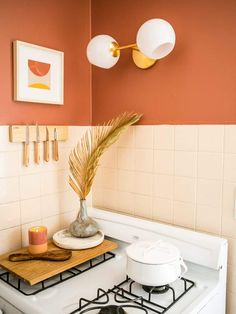 Before & After: A Small LA Rental Kitchen Makeover – College Housewife - chabdeaths. Boho Kitchen, Kitchen Tiles, Kitchen Dining, Kitchen Cabinets, Diy Kitchen, Orange Kitchen Decor, Kitchen Colors, Orange Kitchen Paint, Kitchen Yellow