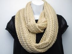 Amazon.com: Super Soft Acrylic/Wool Chunky Knitted Circle Loop Scarf-Almond: Clothing