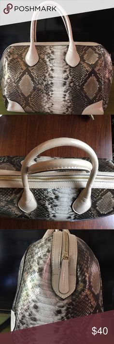 ALDO faux-leather snakeskin satchel bag Beige and brown. Only worn a few times. It looks like new. About 16'' long. Price is firm. Aldo Bags Satchels