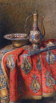 "Nomadic Decorator | Color: Coral   Indigo | http://nomadicdecorator.com  Max Schödl's ""Oriental Still Life"" 1907"