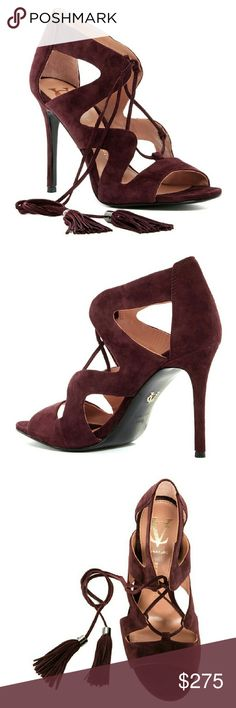 """VC SIGNATURE Burgundy High Heel Sandal NIB! VINCE CAMUTO SIGNATURE Burgundy High Heel Sandal NIB!   - Open toe - Cutout vamp - Suede construction  - Lace-up front closure with tassel detail - Approx. 4"""" heel - Suede upper - Leather sole  X No Trades  $ Use OFFER button to negotiate ? Please Ask ?'s BEFORE you Buy *Thank you for stopping by! Happy Poshing!* Vince Camuto Shoes Heels"""