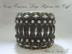 "Beautiful Repousse 2~1/8"" Tall 925 Cuff by Gallup Navajo Artist""EMERSON"""