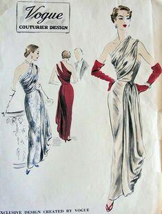 Vogue 599 | Vintage Sewing Patterns | Fandom Vestidos Vintage, Vintage Gowns, Vintage Outfits, Vintage Clothing, Retro Fashion, Vintage Fashion, Club Fashion, Vintage Couture, Fashion Fashion