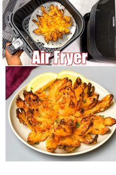 Air Fryer Blooming Onion Recipe or a Sweet Vidalia Onion Blossom is a quick and easy recipe using a whole onion to create the best crunchy, crispy breaded appetizer. Dip the onion petals in a zesty dipping sauce. Fry the onion using the Power Air Fryer, Phillips, Nuwave, or any air fryer brand. #AirFryer #AirFryerBloomingOnion