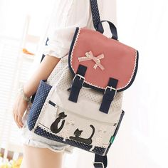 Korea's cute cat student canvas backpack sold by Women Fashion. Shop more products from Women Fashion on Storenvy, the home of independent small businesses all over the world. Diaper Bag Backpack, Canvas Backpack, Diy Bags Purses, Purses And Handbags, Totoro Backpack, Fashion Bags, Fashion Backpack, Kawaii Accessories, Clothing Accessories