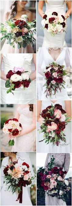 #WeddingBouquet » 16 Elegant Burgundy and Blush Wedding Bouquet Ideas #OctoberWeddingIdeas #BurgundyWeddingIdeas