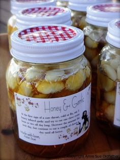 Garlic Honey Throat, Cold and Flu Remedy  At the first sign of a sore throat, cold or flu, start popping  honey infused garlic and try to eat one clove every hour or two all day long.  Decrease the amount the next day, but continue to eat a couple of cloves a day until all better.