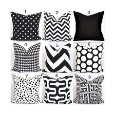Black Pillows, Black Pillow Covers, ALL SIZES, Black Decorative Pillows, Chevron.Diamonds, Floral, .ZigZag, Greek Key,Pillow Cover, Cushion