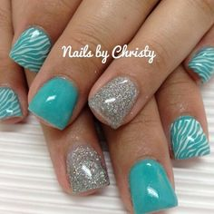 Teal & White + zebra print and glitter nails