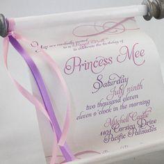Princess Scroll Invitation by PapercutInvites on Etsy