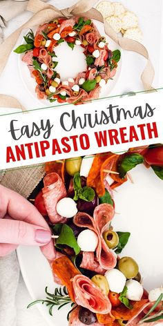 This Easy Christmas Antipasto Wreath with skewers of meat and cheese is an impressive and festive holiday appetizer recipe that comes together quickly in just 20 minutes! #Antipasto #ChristmasAppetizer #FestiveRecipe Skewer Appetizers, Low Carb Appetizers, Holiday Appetizers, Appetizer Recipes, Cheese Recipes, Easy Holiday Recipes, Healthy Dinner Recipes, Christmas Recipes, Traditional Christmas Cookies