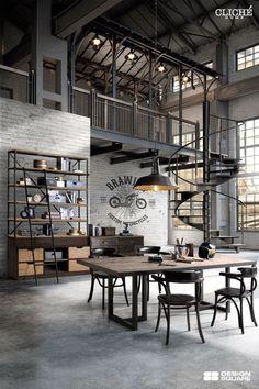 Loft Interior Design, Loft Design, Garage Design, Deco Design, Interior Architecture, House Design, Design Moderne, Interior Decorating, Industrial Interior Design