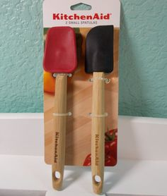 KitchenAid Small Spatulas 2 Piece Set Red/Black New In Package #KitchenAid