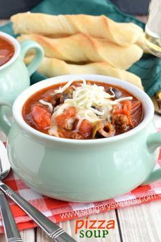 Slow Cooker Pizza Soup | ShugarySweets.com