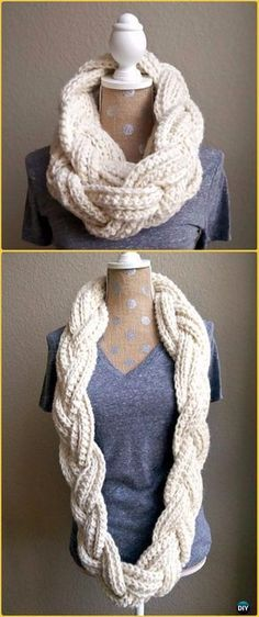 Crochet Braided Infinity Scarf Free Pattern - Crochet Infinity Scarf Free Patterns Crochet Beanie, Crochet Braids, Crochet Scarves, Crochet Shawl, Crochet Clothes, Knit Cowl, Crotchet, Diy Crochet Infinity Scarf, Crochet Geek