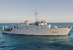French Marine Nationale tripartite minehunter Cassiopée (M 642).