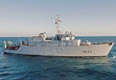 French Marine Nationale tripartite minehunter Cassiopée (M 642).