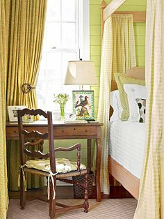 This beautiful soft green matched with the neutral shades of the linens brings fall to life in this bedroom.