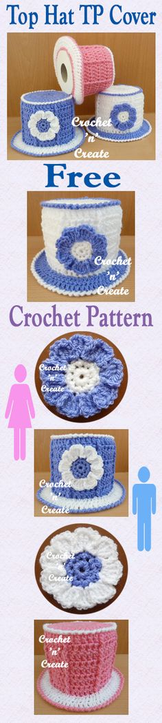 Free crochet pattern for top hat toilet paper/roll cover. #crochet
