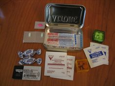 first aid kit in altoid tin