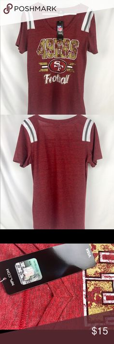 San Francisco Women's V-Neck Short Sleeve Tee Brand New Officially Licensed with tags. 50% poly/37% cotton/13% rayon super soft short sleeve with stripped accents on the shoulders. Features scoop v-neck with silkscreen logo 195504290894 Team Apparel Tops Tees - Short Sleeve