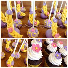 Rapunzel inspired cake pops by Kim's Sweet Karma.