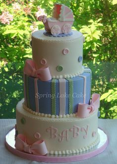 couture baby shower cakes | Buttons and Bows baby shower cake | Flickr - Photo Sharing!