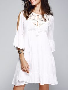 Crochet Front Tiered Bell Sleeve White Dress For Women With Cami Dress
