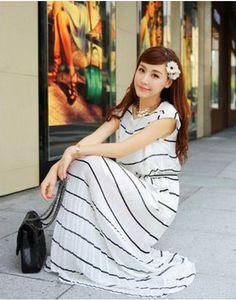 YZC® 可愛い シフォン 安心の高品質 レディース マキシ ワンピース 1枚で清楚に着られるワンピース。細めのボーダーが大人っぽい印象のこの1着。上品なシルエットで、ウエストのリボン結びが程よいアクセントに。リゾートやリラックスタイムなどの大人の休日コーデにピッタリ。 http://www.cithy.jp/yzc-cute-chiffon-women-one-piece-dress-2colors-w09950035a.html