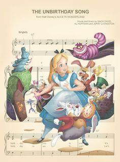 Alice in Wonderland Characters The Unbirthday Song Sheet Music Art Print - Products - zeichnungen Disney Kunst, Art Disney, Disney Songs, Disney Crafts, Disney Quotes, Disney Love, Disney Pixar, Alice In Wonderland Characters, Alice And Wonderland Quotes