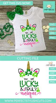St. Patricks Day SVG File - Unicorn SVG -Lucky And Truly Unique SVG - $3 - SVG File for Silhouette Cameo and Cricut - GET IT HERE ==> www.PerfectStylishCuts.com New Crafts, Vinyl Crafts, Vinyl Projects, Silhouette Projects, Silhouette Cameo, All About Me Crafts, Unicorn Images, St Patrick Day Shirts, Monogram Decal