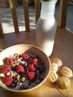 """Many people feel confused about what to eat for breakfast. This is because we have been programmed to eat and crave traditional breakfast foods. I grew up on boxed food-like product cereals - huge creators of inflammation and insulin resistance. Get creative and eat """"out of the box!"""" What started as a trail mix turned into my """"Party Bowl Cereal."""" Sprouted buckwheat, chia, hemp seeds, pecans, mulberries, shredded coconut, raspberries, raw almond butter, cinnamon, cacao nibs, & almond milk."""