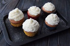 Vanilla frosted cupcakes.