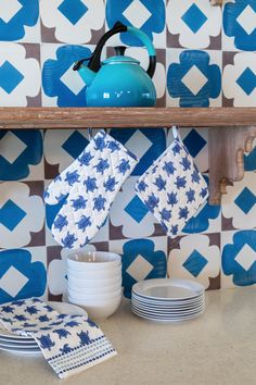 With a cool and calming color palette of blues, our Sea Turtles Oven Mitt & Pot Holder Set will transport your table and guests to a seaside oasis while offering protection from hot pots and pans.  It also makes for the perfect hostess gift! Calming Colors, Hot Pot, Sea Turtles, Low Country, Hostess Gifts, Tea Towels, Tabletop, Oasis, Pot Holders