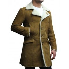 a8574d9abd Men s Luxury Spanish Merino Fur Sheepskin Belted Pea Coat German Long  Duffle Coat