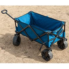 TimberRidge Folding Camping Wagon/Cart – Collapsible Sturdy Steel Frame Garden/Beach Wagon/Cart  Timberridge TR-21727 camping wagon can be used in a lot of places, such as garden, beach, camping and so on. It owns sturdy steel frame with reinforced bottom. This wagon is bigger than other carts and can be folded in seconds. Meanwhile, the folding size provides for easy storage in closets or cars. This camping wagon consists of telescoping handle and swivel front wheels in order to ada..