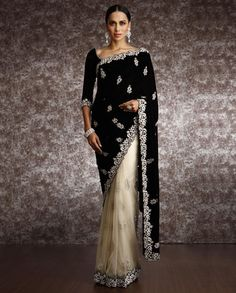 Half and Half Velvet Saree With Bead Work Embroidery Indian Bridal Fashion, Asian Fashion, Cheongsam, Hanfu, Indian Dresses, Indian Outfits, Indian Clothes, Velvet Saree, Indiana