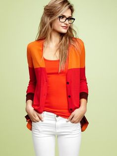colorblock cardigan - orange and red