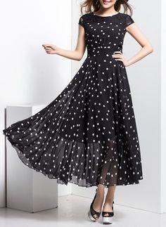 Chiffon Polka Dot Cap Sleeve Maxi Vintage Dresses (1014199) @ floryday.com