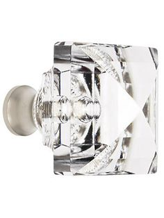 Lead Free German Crystal Square Knob With Solid Brass Base | House of Antique Hardware