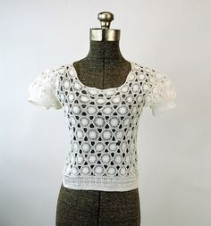 Vintage crochet top sweater white short sleeved sheer lace Size XS