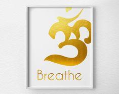 Gold Breathe Om Print
