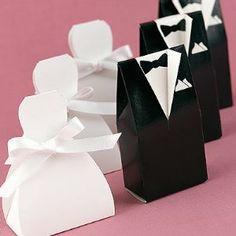 Sunvary 100pairs Tuxedo & Bride Groom Shaped Wedding Candy Boxes by Sunvary. $29.99. Color is in classic white and black. 4-6 wedding candies can be put in this candy box. Personalized wedding favors for guests. Fill with your favorite candy to make a cute surprise box for your guests.. Candy boxes for gifts. Designed in popular and elegant style, these party favor boxes can be used for practically any occasion. They are great for weddings, table gifts, novelties, ornaments, ca...