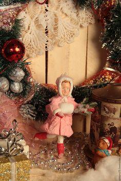 """Купить Ватная игрушка """" Девочка с елочной веткой, в розовом """" - розовый, ватная игрушка"""