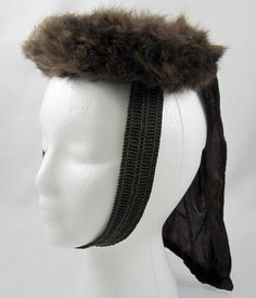 6b10863c Mink & Velvet Drape New York Creation Vintage Pillbox Ladies Hat Dark  Brown Fur #