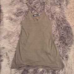 Audrey 3+1 Tank Ribbed green with black stripe v neck tank. Perfect for layering. Bought a boutique. I do not trade. Tops Tank Tops