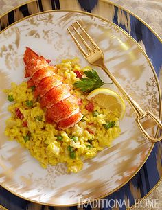 Poached Lobster with Saffron Risotto