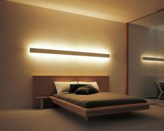Indirect lighting … - Home Decor Bedroom Bed Design, Home Bedroom, Modern Bedroom, Bedroom Decor, Master Bedroom, Guest Bedrooms, Minimalist Bedroom, Indirect Lighting, Bedroom Lighting